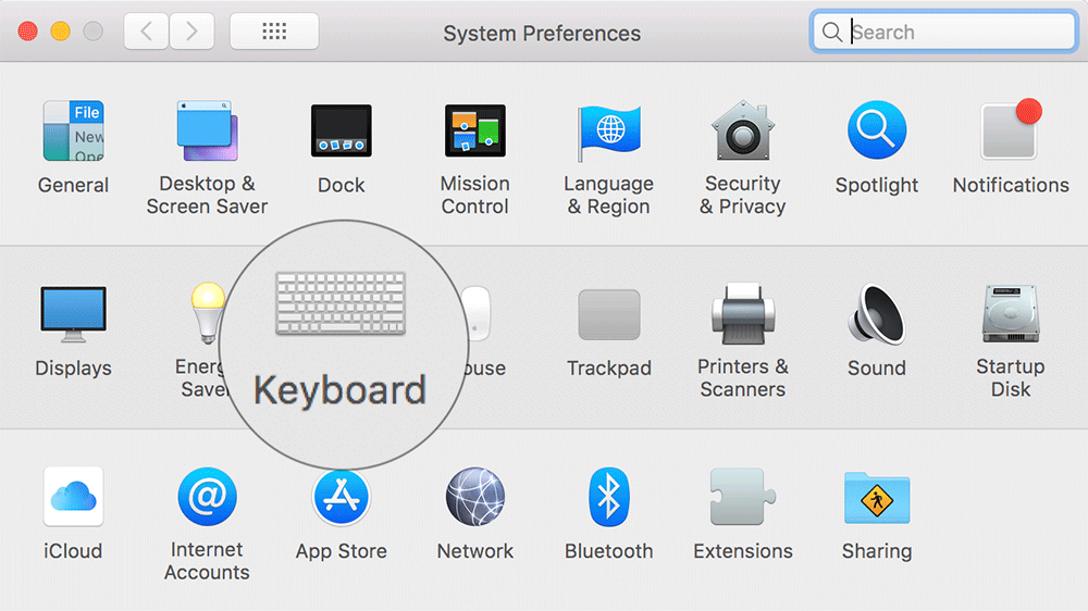 Click on Keyboard in Mac System Preferences