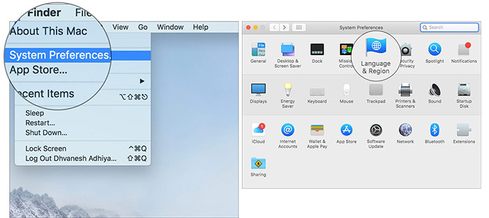 Click on Language & Region in System Preferences