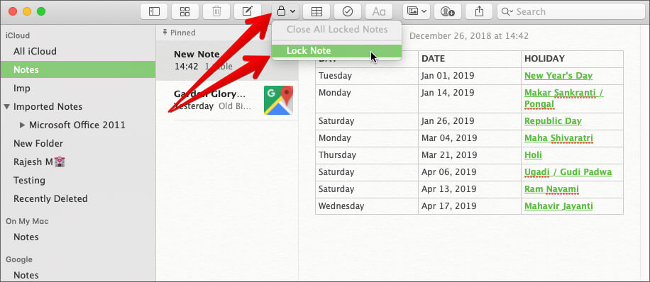 Click on Lock Icon and Select Lock Note in Mac Notes App