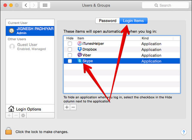 Click on Login Itmes in Mac System Preferences