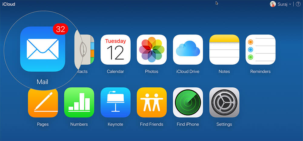 Click on Mail on Launchpad of iCloud