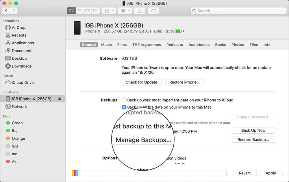 Click on Manage Backups in Finder App on Mac