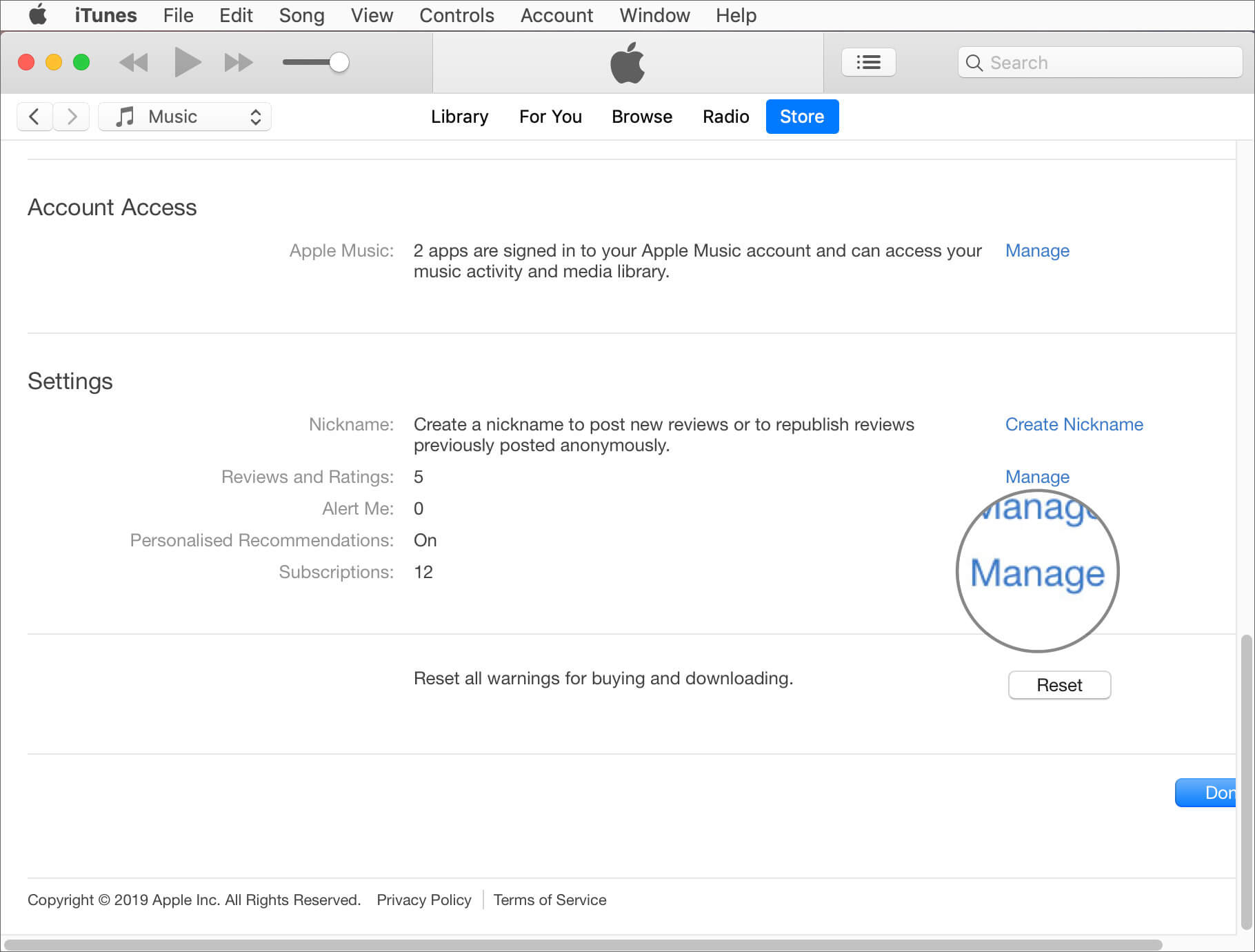 Click on Manage Next to Subscriptions in iTunes