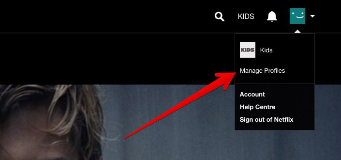 Click on Manage Profile in Netflix on Mac or PC
