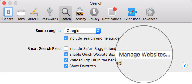 Click on Manage Websites in Safari Preferences Settings on Mac