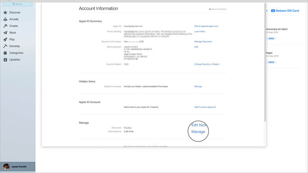Click on Manage in Account Information Page on Mac