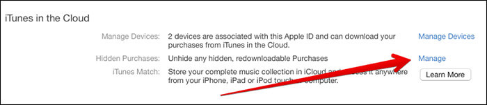 Click on Mange Unhide in iTunes