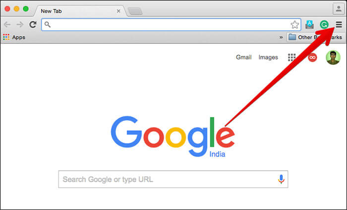 Click on Menu in Chrome on Mac