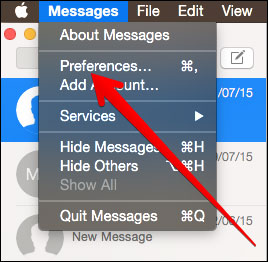 Click on Message Preferences in Mac
