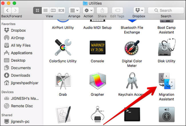 Click on Migration Assistant on Mac