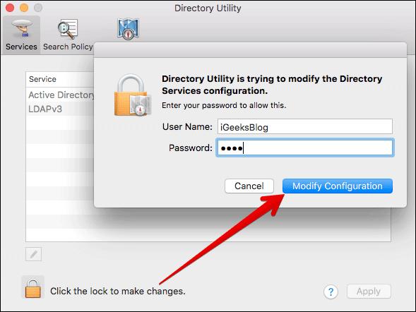 Click on Modify Configuration on Mac