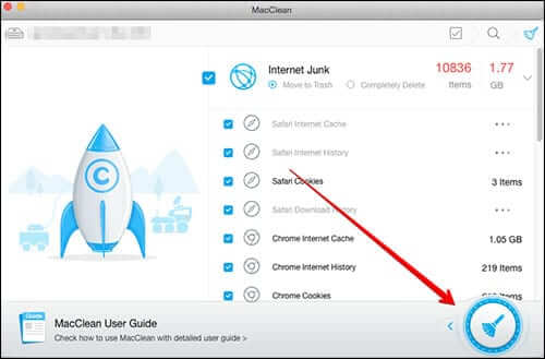 Click on Mop Icon in MacClean