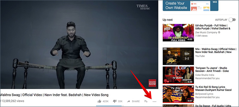 Click on More Button in YouTube on Mac or Windows PC