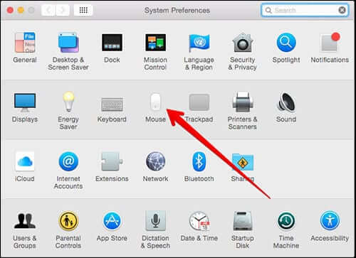 Click on Mouse in Mac OS X System Preferences