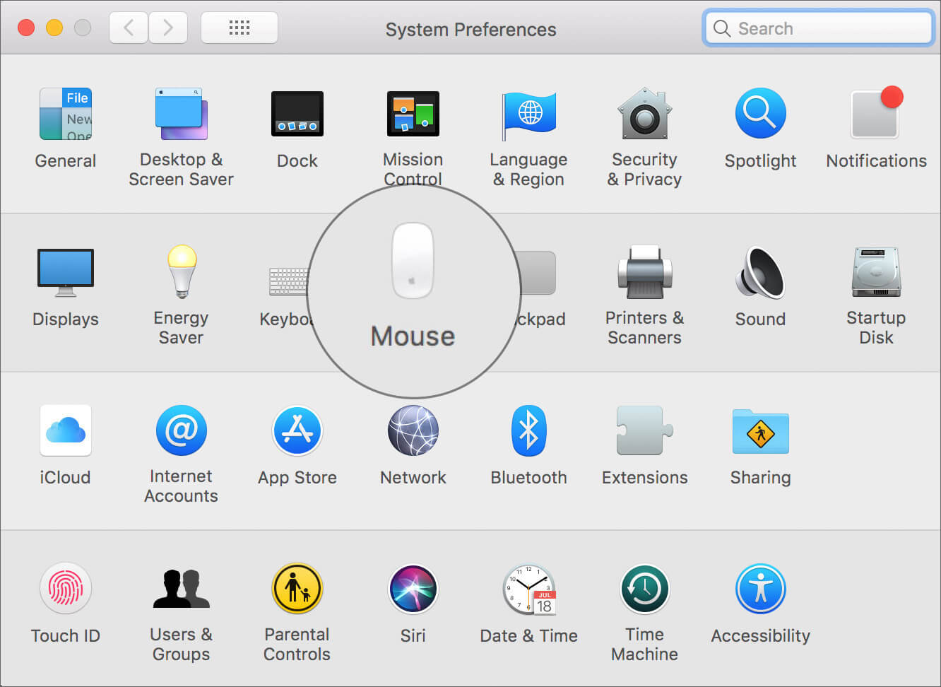Click on Mouse in Mac System Preferences