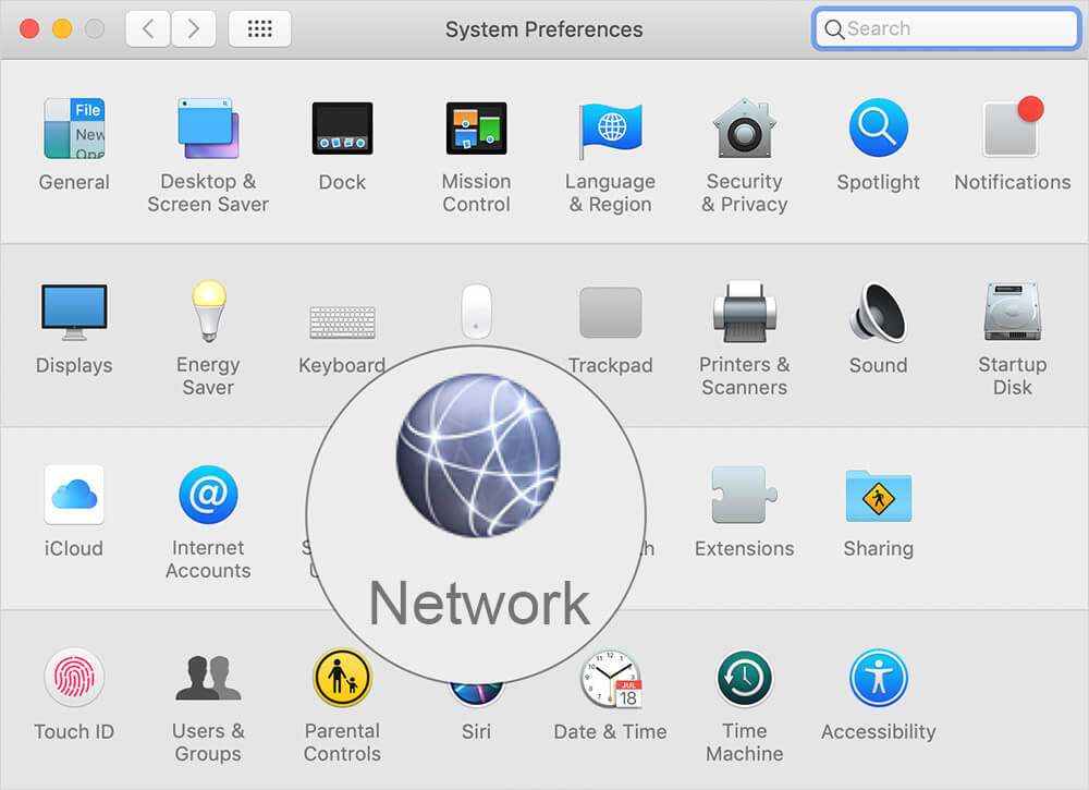 Click on Network in Mac System Preferences