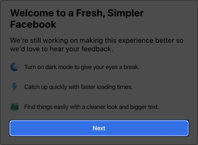 Click on Next in Facebook