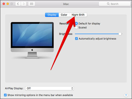 Click on Night Shift in macOS Sierra