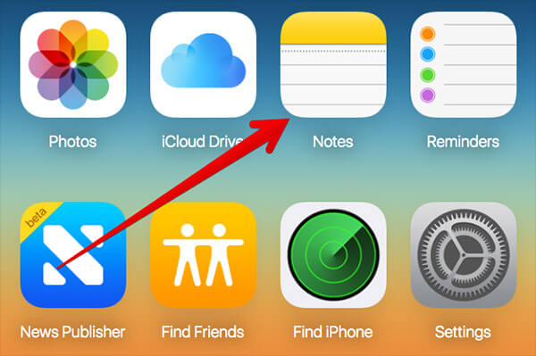 Click on Notes in iCloud on Mac or Windows PC