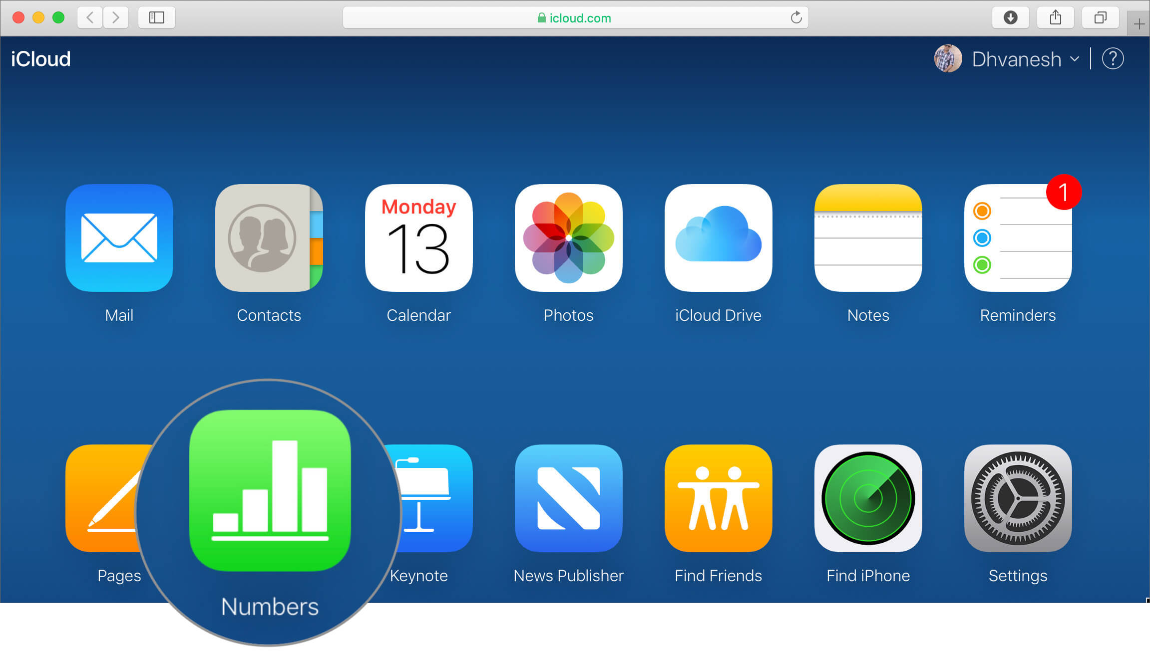 Click on Numbers that particular iWork app in iCloud