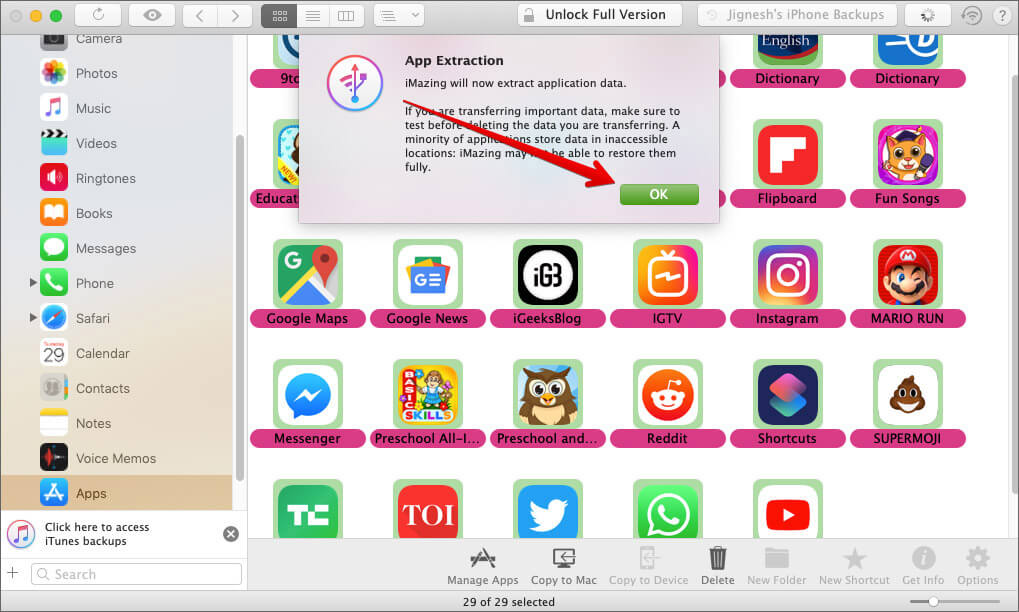 Click on OK to extract the iPhone app data on Mac