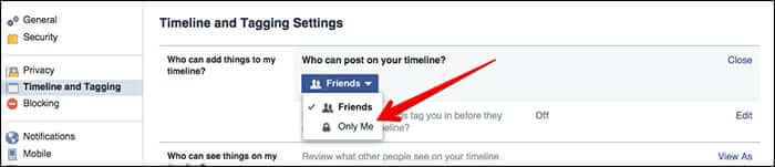Click on Only Me in Facebook Timeline Settings
