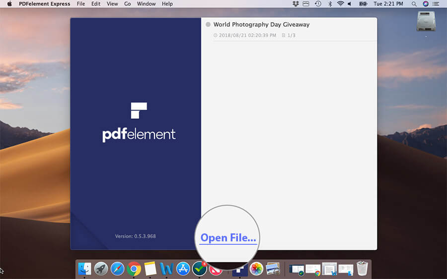 Click on Open File in PDFElement Express