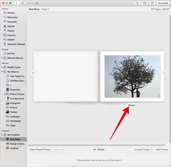 Click on Options in Photos App on Mac