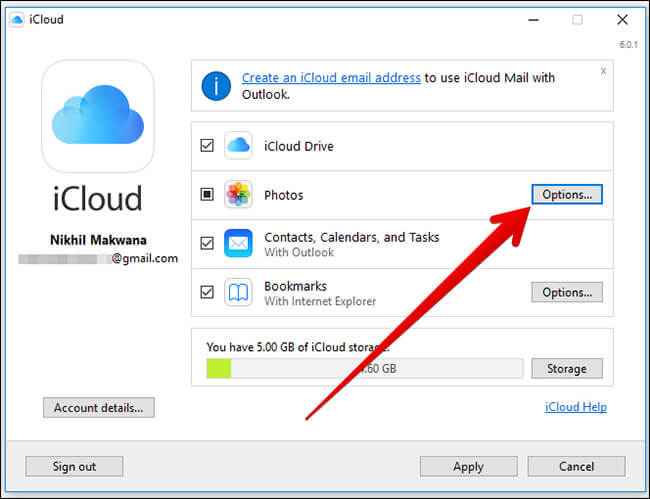 Click on Options in Photos in iCloud for Windows