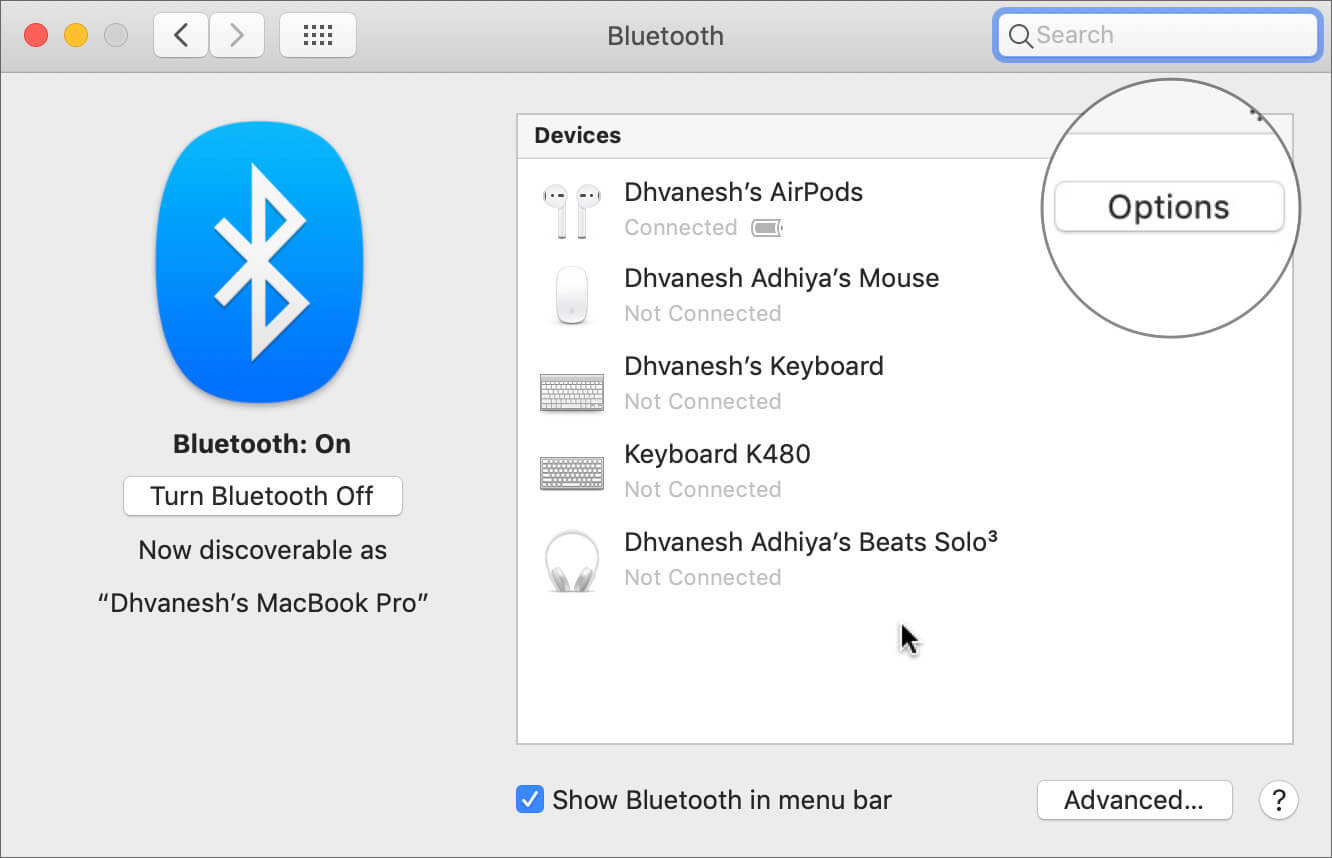 Click on Options next to Paired AirPods in Bluetooth Settings on Mac