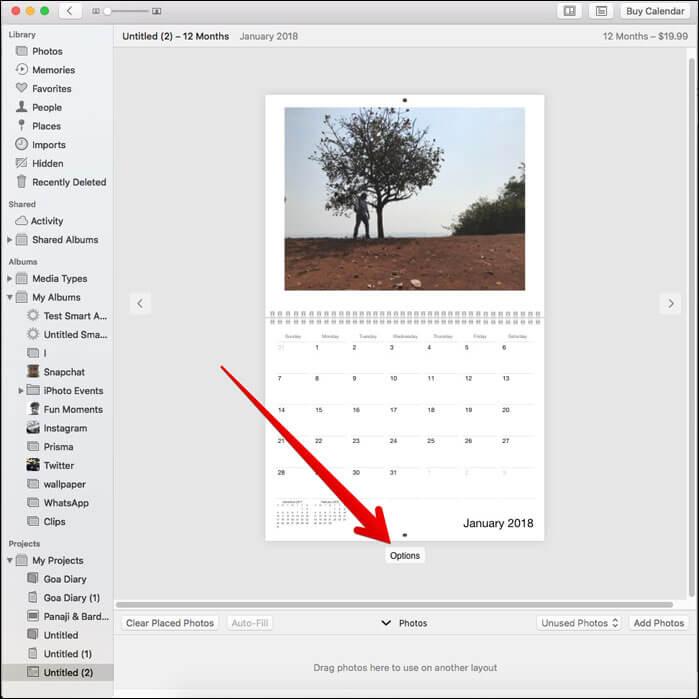 Click on Options on Mac Photos App