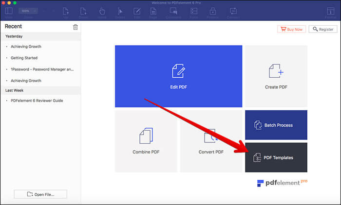 Click on PDF Templates in PDFelement 6 Pro