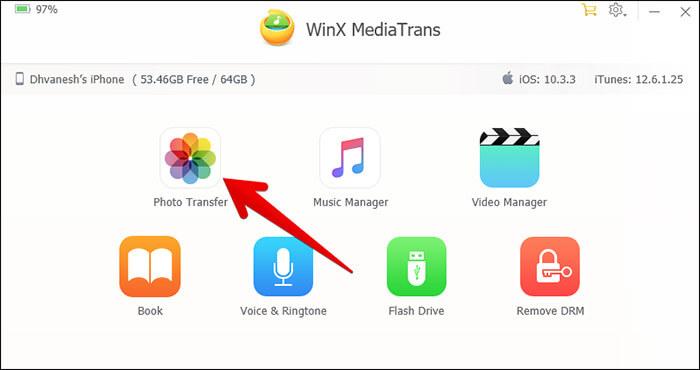 Click on Photo Transfer in WinX MediaTrans on PC