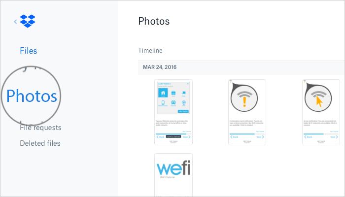 Click on Photos in DropBox Web