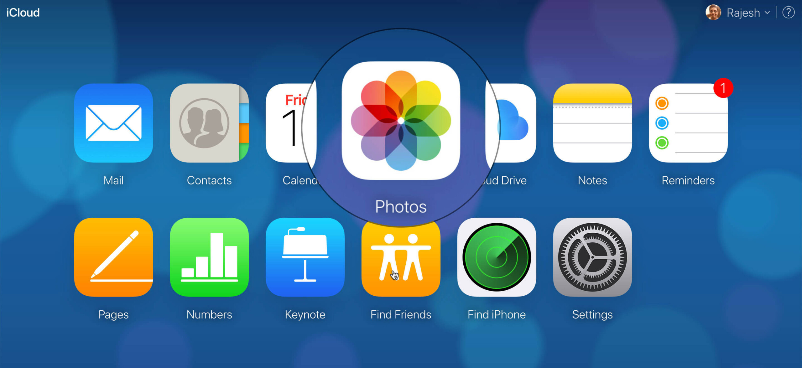 Click on Photos in iCloud Launchpad