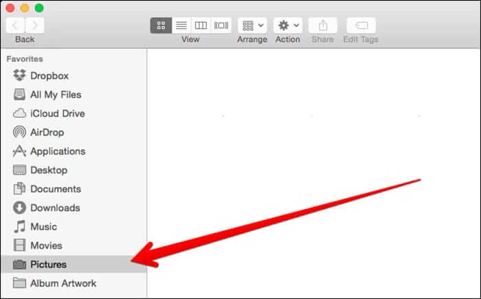 Click on Pictures from Finder in Mac OS X Yosemite