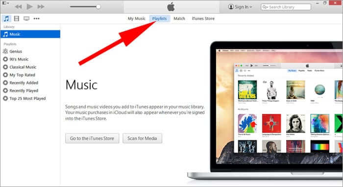 Click on Playlists in iTunes 12