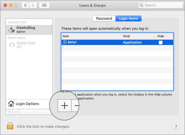 Click on Plus in Login Items on Mac