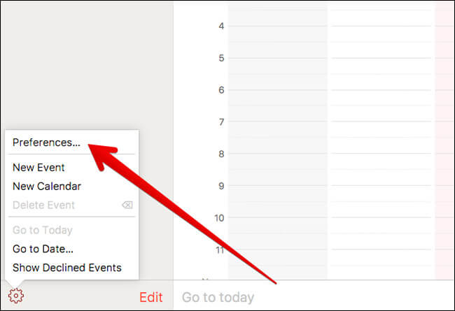 Click on Preferences in Calendar in iCloud on Mac