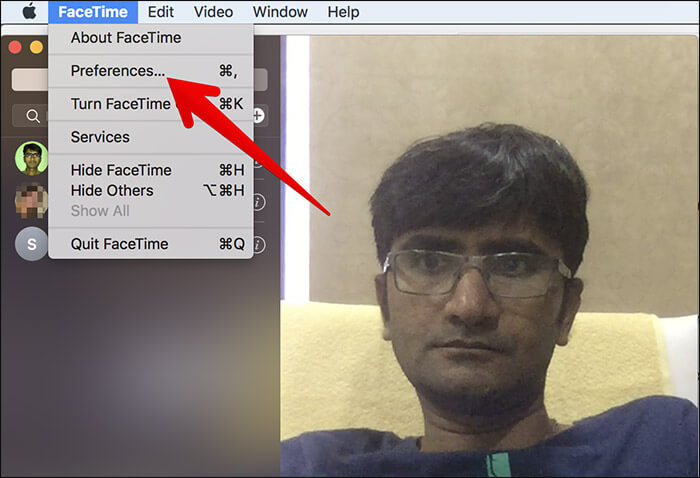 Click on Preferences in FaceTime on Mac