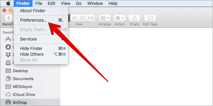Click on Preferences in Finder on Mac