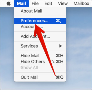 Click on Preferences in Mac Mail app