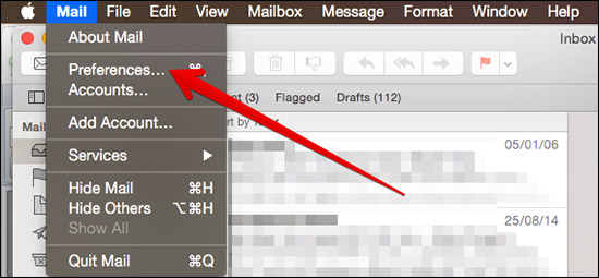 Click on Preferences in Mail App on Mac