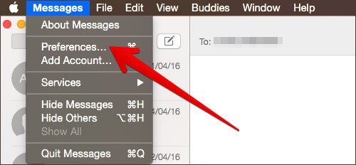 Click on Preferences in Messages App on- Mac
