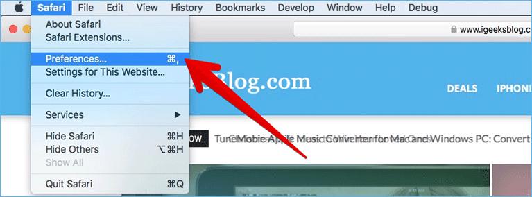 Click on Preferences in Safari on Mac