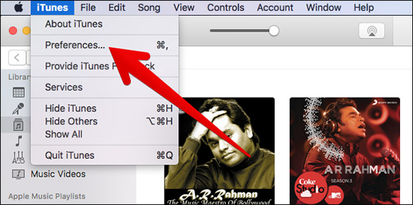 Click on Preferences in iTunes on Mac