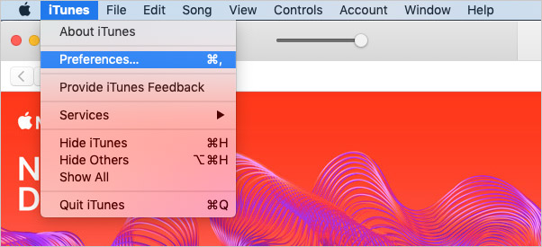 Click on Preferences in iTunes