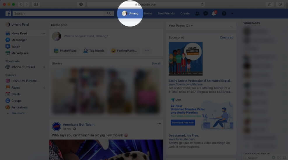 Click on Profile Picture in Facebook on Mac