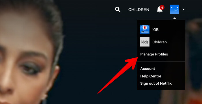 Click on Profiles in Netflix