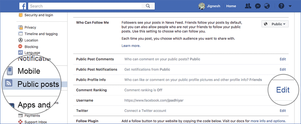 Click on Public Posts and Edit Comment Ranking in Facebook on Web